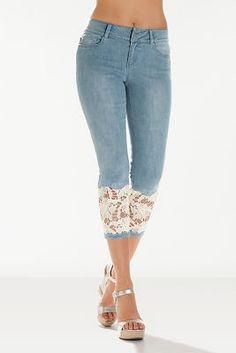 Buy 2018 Women Light Blue Denim Crochet Lace Skinny Legs Stretch Pencil Lace Jeans Short at Wish - Shopping Made Fun Trouser Jeans, Denim Pants, Cropped Jeans, Denim Cap, Plaid Pants, Linen Pants, Jogger Pants, Casual Pants, Diy Ripped Jeans