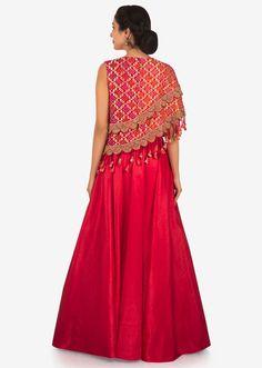 Rani pink anarkali gown with fancy bodice highlighted in lace and tassel only on Kalki Bandhani Dress, Choli Dress, Anarkali Gown, Bridal Lehenga Choli, Saree Blouse Neck Designs, Choli Designs, Dress Neck Designs, Lehenga Designs, Blouse Designs