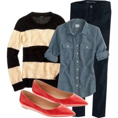 Chambray, Rugby Stripes and a pop of red. Winter Americana.