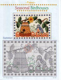 "ru / - Album ""with a bird"" Fall Cross Stitch, Cross Stitch Needles, Cute Cross Stitch, Cross Stitch Samplers, Cross Stitch Charts, Cross Stitching, Cross Stitch Patterns, Embroidery Sampler, Cross Stitch Embroidery"