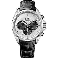 Men's chronograph with a leather strap, Assorted-Pre-Pack Hugo Boss Watches, Watches For Men, Mens Designer Watches, Hugo Boss Man, Elegant Watches, Chronograph, Leather, Stuff To Buy, Accessories