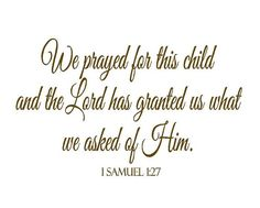 """We Prayed for This Child Wall Decal - Scripture Bible Verse Vinyl Wall Lettering for Baby Nursery 1 Samuel 1 27 22""""h x 36""""w BA0033 on Etsy, $45.00"""
