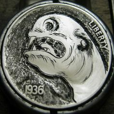 CHRISTOPHER STINNETT HOBO NICKEL - SPACE WORM - 1936 BUFFALO NICKEL Hobo Nickel, Coin Art, Worms, Personalized Items, Space, Biscuit, Buffalo, Monsters, Creepy