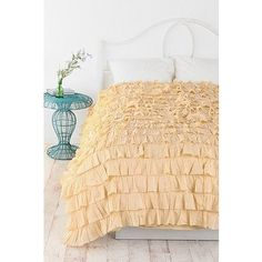 Waterfall Ruffle Duvet Cover - Yellow - Full/Queen by Urban Outfitters $179