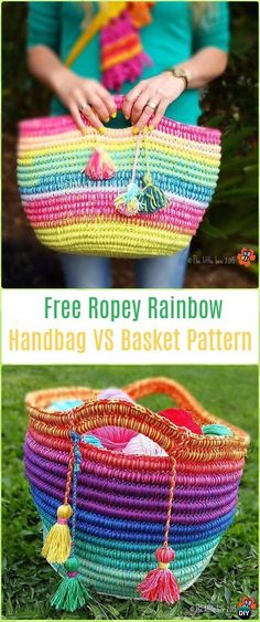 Crochet Ropey Rainbow Handbag or Basket - Crochet Handbag Free Patterns Instructions