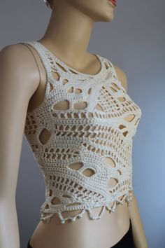 Ivory Cotton Freeform Crochet Tank Top Summer by levintovich