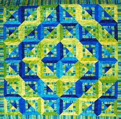 Blueberries and Key Lime Pie, a strip quilt with stripes by Klaudeen Hansen.  2014 workshop, AQS-Phoenix