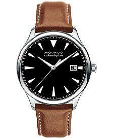 Movado Men's Swiss Heritage Series Calendoplan Cognac Leather Strap Watch 40mm… - mens black watches, classic mens watches, mens cuff watches