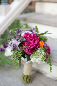 Rustic bouquet with a pink peony ////// {Pink Posey Design}