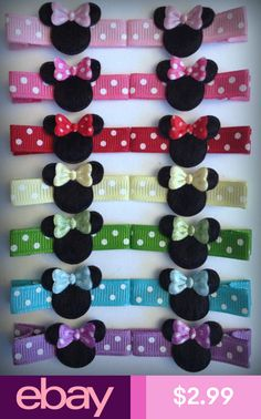 2 Boutique Girl Hair Clips Minnie Mouse Dots Hot Pink Dots Bowtique on Etsy… Ribbon Hair Clips, Baby Hair Clips, Hair Ribbons, Diy Hair Bows, Diy Bow, Handmade Hair Bows, Barrettes, Hairbows, Disney Hair