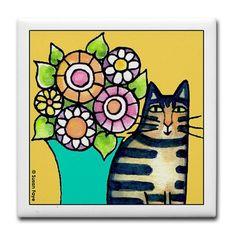 BROWN TABBY...Ceramic Art Tile Coaster by susanfaye