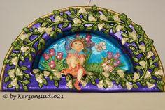 Wunderschöne Bogen-Kerze zum Thema Frühling.    Die Kerze ist eine schöne (Frühlings)-Dekoration oder ein schönes Geschenk.    Die Bogen-Kerze mit Aus