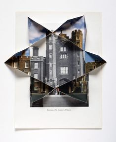Drawing In Abigail Reynolds, The Universal Now: St. James Gate 1935 / and folded vintage bookplates x in x cm© AMBACH A Level Photography, Mixed Media Photography, Framing Photography, Photography Projects, Creative Photography, Landscape Photography, Art Photography, Distortion Photography, School Photography