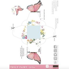 """Free download for you to print and enjoy.Simply print and cut-out to create your own treat box! Click on the link """"Truly Fairy"""" Free Printable Treat Box PDF"""