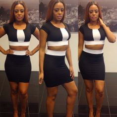 2014 Sexy Summer Women Casual Knee-length Dress Sexy Black White Patchwork Bandage Dress Evening Bodycon Dresses $11.99