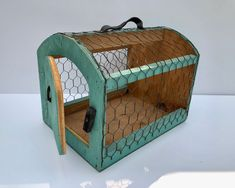 Excited to share this item from my #etsy shop: Vintage, Handmade, Turquoise, Primitive, Wooden, Chicken Carrier Crate, With Leather Handles #blue #brown #garage #metal #chickencrate #chickencarrier #vintagefarmhouse #primitivecarrier #primitivedecor Vintage Colors, Vintage Turquoise, Pink Pyrex, Pink Depression Glass, Vintage Farmhouse, Glass Collection, Leather Handle, Crates, Primitive