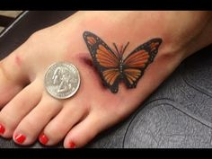 Small 3D Black and Orange Butterfly Tattoo on Foot