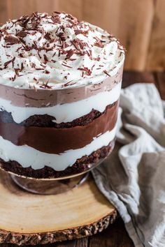 Brownie Trifle | www.oliviascuisine.com | would be delish with some mint extract added to the whipped cream.