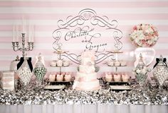 This Pink and Silver Dessert Table is perfect for a wedding or bridal shower. If you're looking for dessert table or candy buffet ideas, check this out! Lolly Buffet, Candy Buffet Tables, Candy Table, Dessert Tables, Dessert Buffet, Buffet Ideas, Pink Grey Wedding, Striped Wedding, Sparkle Wedding