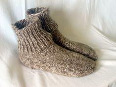 Boy Hand Knitted Sock Slipper in Brown, Men Shoe Size 5 to 6. $20.00, via Etsy.