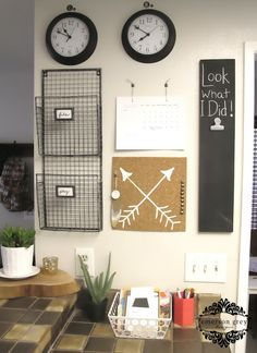 Emerson Grey Designs : Nursery Interior Designer: Command center {for all that school work and such} Command Center Kitchen, Family Command Center, Shanty 2 Chic, Office Organization At Work, Wall Organization, Office Ideas, Office Decor, Comand Center, Mail Center