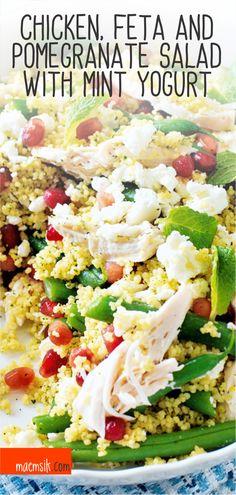 Chicken, Feta And Pomegranate Salad With Mint Yogurt Recipe Yogurt Recipes, Gf Recipes, Dinner Recipes, Feta Chicken, Chicken Salad Recipes, Pomegranate Salad, Mint Salad, Work Lunches, Turmeric