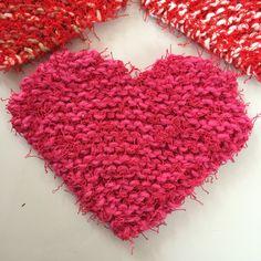 "An easy garter stitch heart knitting pattern using the polyester ""scrubby"" yarn."