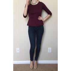Deep Maroon Burgundy Peplum Flare Top Gorgeous deep red, Martin, burgundy, wine color. You get the picture, it's a deep red and it is gorgeous! It is a size xs but could also fit a small. Perfect top for going out or to dress up! It is in EUC excellent used condition without an noticeable flaws. Open to offers! The Limited Tops Blouses