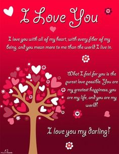 This heart leaves ecard features a beautiful tree with heart leaves and flowers. The bright red background signifies the strong passionate love you have for your special person. Sweet Quotes For Him, Love Quotes For Her, Cute Love Quotes, Love Yourself Quotes, Valentine Love Quotes, Happy Birthday Love Quotes, I Love You Means, Why I Love You, I Love You Pictures