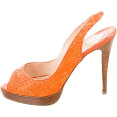 Pre-owned Christian Louboutin Woven Slingback Pumps (£245) ❤ liked on Polyvore featuring shoes, pumps, orange, braided shoes, orange pumps, stacked heel pumps, woven shoes and stacked heel shoes