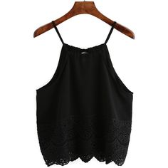 Spaghetti Strap Lace Crochet Cami Top ($8.90) ❤ liked on Polyvore featuring tops, black, lace tank, black tank, crochet tank top, black camisole and black tank top