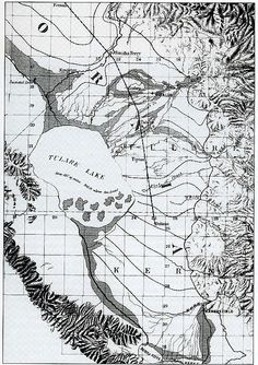 Map of Tulare Lake, Central California c.1874