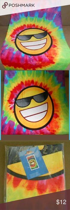 "Tie Dye Emoji Smiley Beach Towel 30""x60"" Beach towel brand new in bag with tag Other"