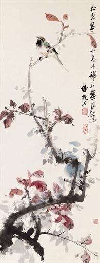 Bird on Red Leaves - Fu Baoshi (1904-1965)
