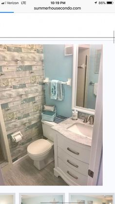 This, but not the sink countertop. I'd actually go for a simple stand sink so it'd give a bit more room. bathroom ideas 25 Beautiful Bathroom Color Scheme Ideas for Small & Master Bathroom Diy Bathroom, Downstairs Bathroom, Bathroom Renos, Beachy Bathroom Ideas, Beach House Bathroom, Colors For Small Bathroom, Bathroom Wood Wall, Master Bathroom, Lake Bathroom