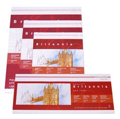Hahnemuhle Brittania- similar to the Cornwall paper but a lighter weight. Pads contain 10 sheets of bright white 300gsm watercolour board in a matt (NOT) surface. Acid free and UV resistant.