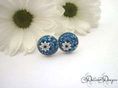 Blue Symphony Silver Earrings- Handmade Floral Stud Earrings - Polymer Clay and Sterling Silver Earrings - Unique Jewelry - Made to Order