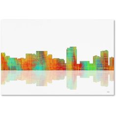 Trademark Fine Art Honolulu Hawaii Skyline Canvas Art by Marlene Watson, Size: 12 x 19, Multicolor