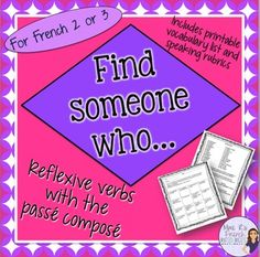French speaking activity - find someone who... reflexive v
