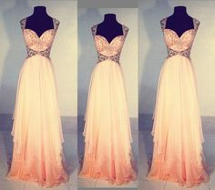 New Fashion Chiffon Saprkle Beadings Prom Dresses Long Prom Dress Evening Gowns For Teens by DestinyDress, $217.39 USD