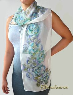 Hand Painted Silk Scarf Roses Floral silk Chiffon scarf Handpainted scarf Women Gift for her handmade scarf Silk Painting Women gift unique Hand Painted Silk Scarf Roses Floral silk Chiffon scarf Handpainted scarf Women Gift for her handmade scarf Silk Painting Women gift unique ►SALE 15% - Coupon Code - for old buyers! Gentle and elegant floral long natural silk chiffon scarf with blue roses on white background. The fabric on which I have painted is 100% natural Silk Chiffon. The silk ch...