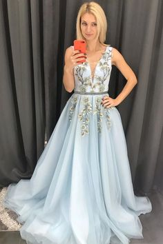Buy Baby Blue Tulle V Neck Long Prom Dress A Line Sleeveless Appliques Evening Dress Shop short long ombre prom, homecoming, bridesmaid evening dresses at Couture Candy Cocktail party dresses, formal ball gowns in ombre colors. Blue Lace Prom Dress, Prom Dresses Blue, Evening Dresses, Formal Dresses, Party Dresses, Women's Dresses, Fashion Dresses, Robes D'occasion, Bleu Royal