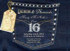 Denim and Diamonds Denim Pocket with Bling by BrooklynDesignStudio