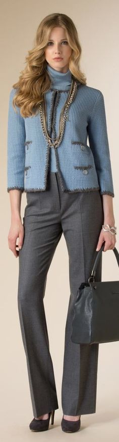 Blue sweater, gray pants. Street fall autumn women fashion outfit clothing style apparel @roressclothes closet ideas