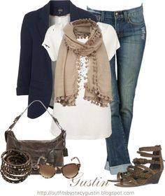 "STACY GUSTIN | navy blazer"" by stacy-gustin on Polyvore 