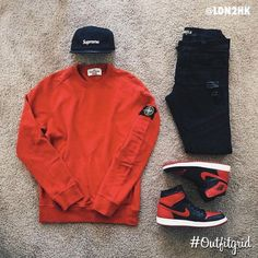 Today's top #outfitgrid is by @ldn2hk.  ▫️#Supreme #Cap  ▫️#StoneIsland x #Supreme #Crew  ▫️#FavelaClothing #Denim  ▫️#Jordan1 #Banned #flatlay #flatlays #flatlayapp www.flat-lay.com