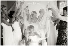 Bridal Party |  Black and white  |  Wedding veil  |  Wedding day  |  Bride and bridal party pictures | Aislinn Kate Photography