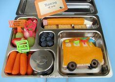 Bento School Lunches: Back To School Bus And Pencil Bento.  @Jan Wilke Davis Box   #backtoschool