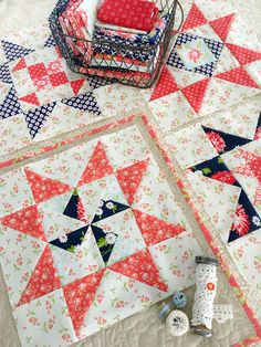 Carried Away Quilting sews block for on the Star Spangled BOM with Fort Worth Fabric Studio. Fabrics: Fig Tree and Bonnie & Camille for Moda. Star Quilt Patterns, Star Quilts, Scrappy Quilts, Mini Quilts, Quilt Blocks, Star Blocks, Block Patterns, Quilting Projects, Quilting Designs