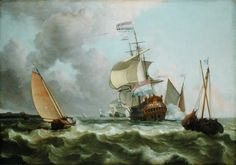 Ships On The Zuiderzee Before The Fort Of Naarden 1660 Museum: Wallraf-Richartz Museum Cologne Anglo Dutch Wars, Full Sail, Sailing, Coastal, Museum, Ocean, Cologne, Euro, Ships